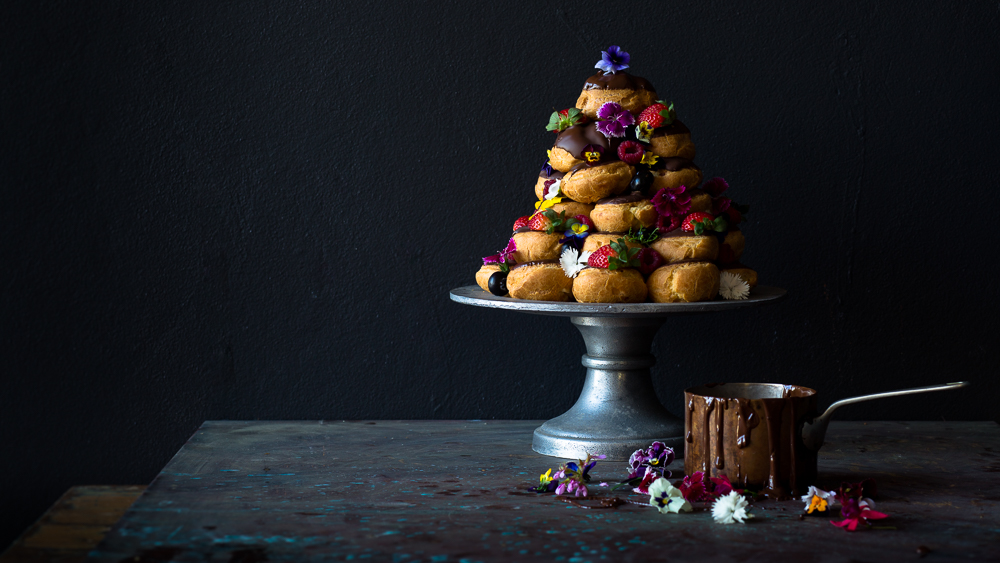 Food photographer Byron Bay Nelly le Comte Profiterolles stack